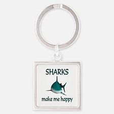 Shark Happy Square Keychain