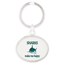 Shark Happy Oval Keychain