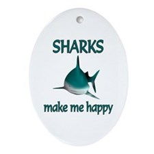 Shark Happy Ornament (Oval)