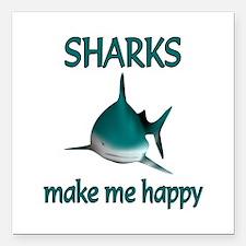 "Shark Happy Square Car Magnet 3"" x 3"""
