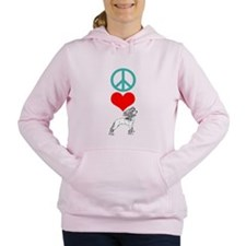 Peace Love Chinese Crested Women's Hooded Sweatshi