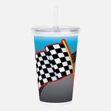 race car flag cp.png Acrylic Double-wall Tumbler