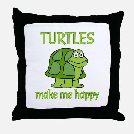 Turtle Happy Throw Pillow