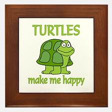 Turtle Happy Framed Tile