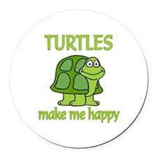 Turtle Happy Round Car Magnet
