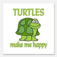 "Turtle Happy Square Car Magnet 3"" x 3"""