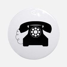 Old Style Telephone Ornament (Round)