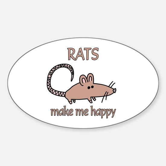 Rat Happy Sticker (Oval)