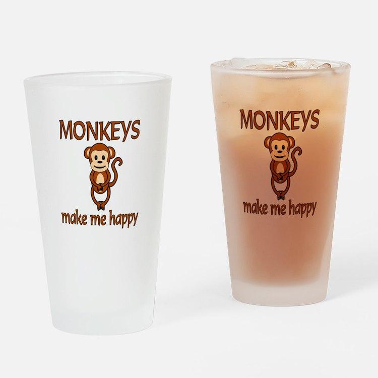 Monkey Happy Drinking Glass