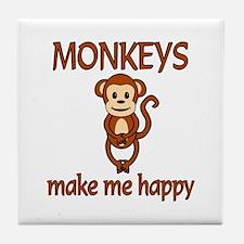 Monkey Happy Tile Coaster