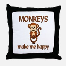 Monkey Happy Throw Pillow