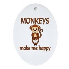 Monkey Happy Ornament (Oval)