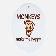 Monkey Happy Ornament (Oval)