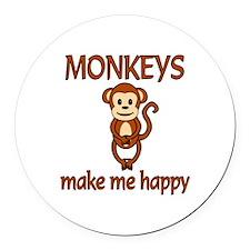 Monkey Happy Round Car Magnet