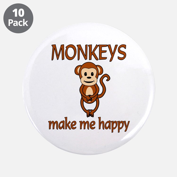"""Monkey Happy 3.5"""" Button (10 pack)"""