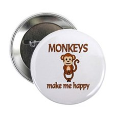"Monkey Happy 2.25"" Button (10 pack)"