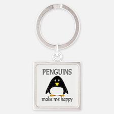 Penguin Happy Square Keychain
