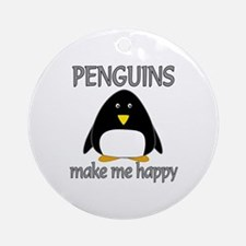 Penguin Happy Ornament (Round)