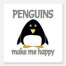 """Penguin Happy Square Car Magnet 3"""" x 3"""""""