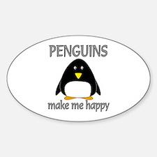 Penguin Happy Sticker (Oval)