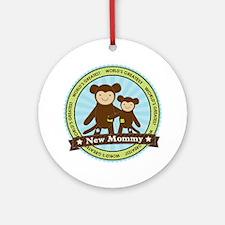 New Mom Monkey Ornament (Round)