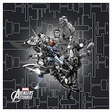 Gray Avengers Wall Art Poster