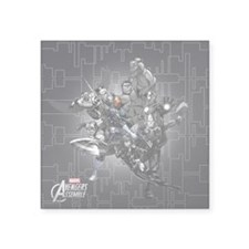 "Gray Avengers Square Sticker 3"" x 3"""