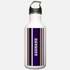 Purple Jersey Stripes Water Bottle