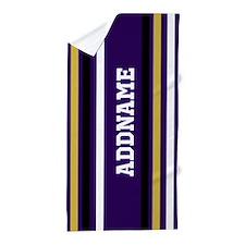Purple Jersey Stripes Personalized Beach Towel