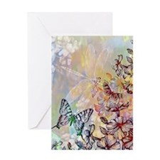 bright flowers and butterfly Greeting Cards