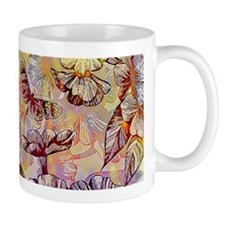 bright flowers and butterfly Mugs