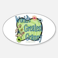 Greatest Granny Floral Oval Decal