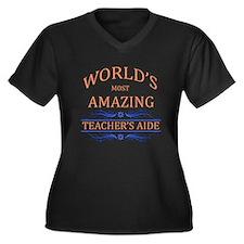 Teacher's Ai Women's Plus Size V-Neck Dark T-Shirt