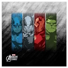 Four Avengers Wall Art Framed Print