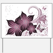 Purple flowers and butterfly Yard Sign