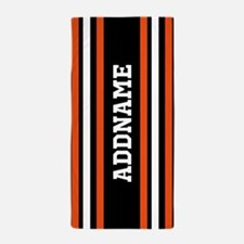 Custom Orange Black White Stripes Beach Towel