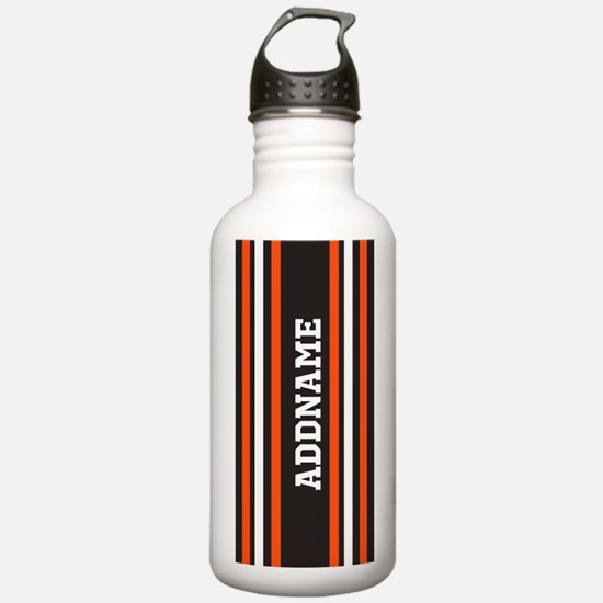 Gray Orange White Stri Water Bottle