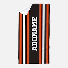 Gray Orange White Stripes Beach Towel