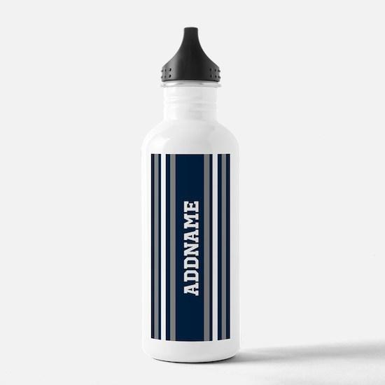 Blue White Silver Stri Water Bottle