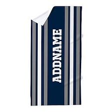 Blue White Silver Stripes Custom Beach Towel
