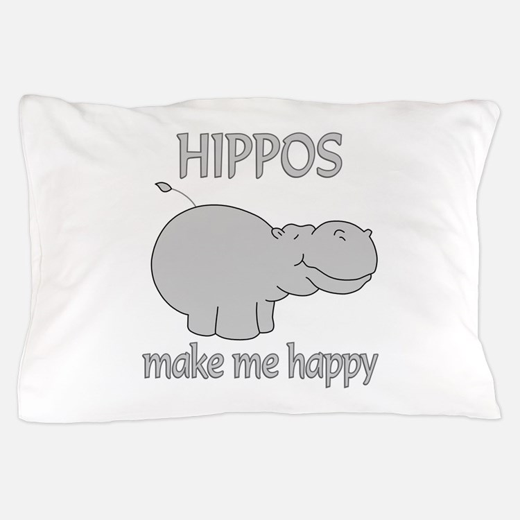 Hippo Happy Pillow Case