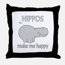 Hippo Happy Throw Pillow