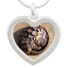curled up pangolin Silver Heart Necklace