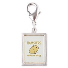 Hamster Happy Silver Portrait Charm