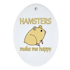 Hamster Happy Ornament (Oval)