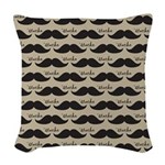 Mustache Vintage Retro Woven Throw Pillow