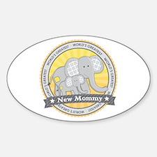 New Mom Elephant Sticker (Oval)