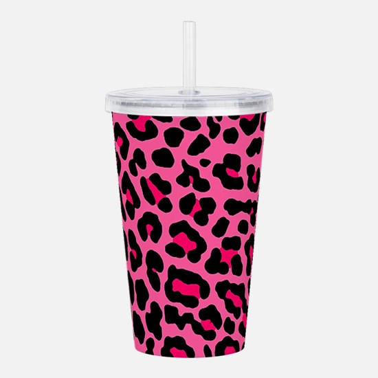 HOT PINK LEOPARD Acrylic Double-wall Tumbler