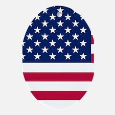 Patriotic American Flag Ornament (Oval)