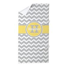 Gray Yellow Chevron Personalized Beach Towel
